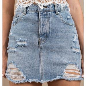 Dresses & Skirts - Ripped blue wash denim skirt